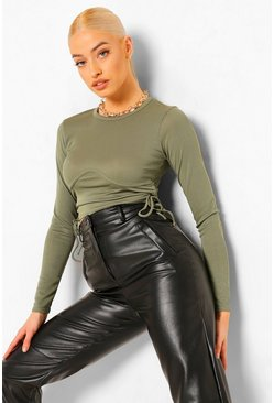 Khaki Seam Detail Ruched Rib Long Sleeve Crop Top