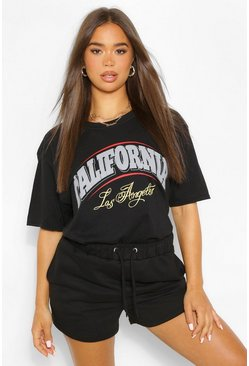 Black California Slogan T-Shirt