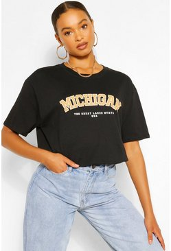Black Oversized Michigan Slogan Boyfriend T-Shirt