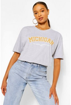 Grey Oversized Michigan Slogan Boyfriend T-Shirt