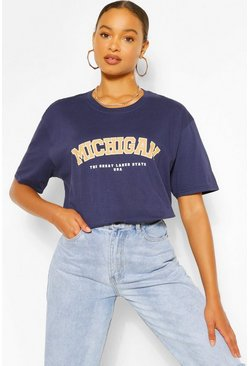 Navy Oversized Michigan Slogan Boyfriend T-Shirt
