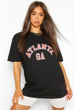 Black Atlanta Slogan Boyfriend T-Shirt