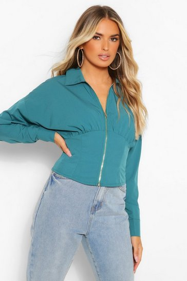 Teal green Green Woven Zip Front Corset Shirt