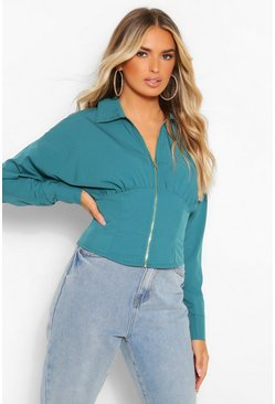 Teal green Woven Zip Front Corset Shirt