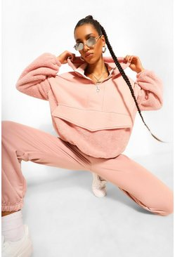 Blush pink Teddy And Loopback Mix Zip Detail Hoodie