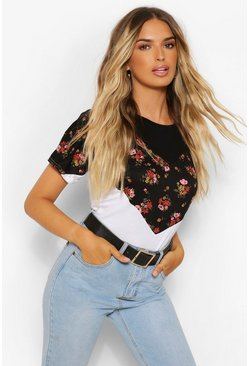 Black DITSY FLORAL COLOUR BLOCK TSHIRT