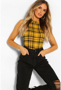 HIGH NECK CHECK SLEVELESS RACER BODY, Mustard