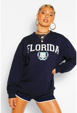 Navy FLORIDA SLOGAN EXTREME OVERSIZED SWEATSHIRT