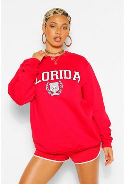 Red FLORIDA SLOGAN EXTREME OVERSIZED SWEATSHIRT