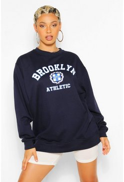 Navy BROOKLYN SLOGAN EXTREME OVERSIZED SWEATSHIRT