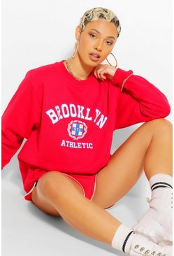 Red BROOKLYN SLOGAN EXTREME OVERSIZED SWEATSHIRT