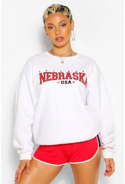 White NEBRASKA SLOGAN EXTREME OVERSIZED SWEATSHIRT