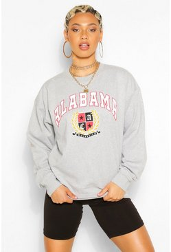 Grey marl ALABAMA SLOGAN EXTREME OVERSIZED SWEATSHIRT