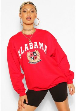 Red ALABAMA SLOGAN EXTREME OVERSIZED SWEATSHIRT