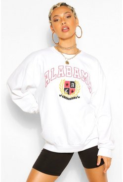 White ALABAMA SLOGAN EXTREME OVERSIZED SWEATSHIRT