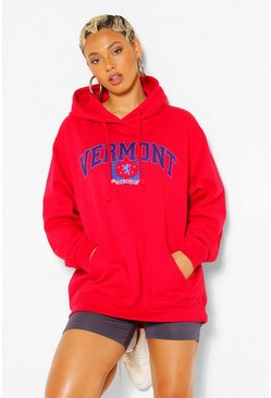 Rood red EXTREME OVERSIZED HOODIE MET VERMONT-SLOGAN
