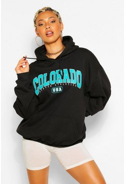 Colorado Slogan Extreme Oversized Hoodie, Black