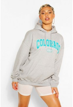 Grey marl grey Colorado Slogan Extreme Oversized Hoodie
