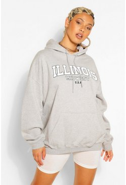 Grey marl ILLINOIS SLOGAN EXTREME OVERSIZED HOODY