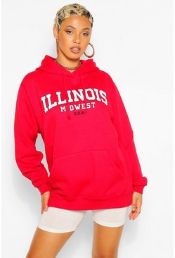 Red ILLINOIS SLOGAN EXTREME OVERSIZED HOODY