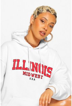 White ILLINOIS SLOGAN EXTREME OVERSIZED HOODY