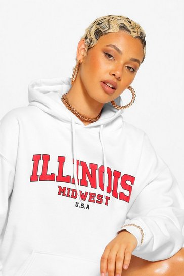 White Illinois Slogan Extreme Oversized Hoodie