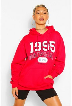 Red 1995 SLOGAN EXTREME OVERSIZED HOODY