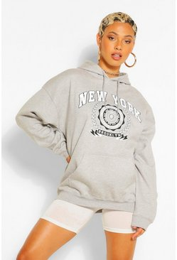 Grey marl NEW YORK SLOGAN EXTREME OVERSIZED HOODY