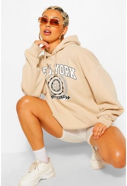 Sand NEW YORK SLOGAN EXTREME OVERSIZED HOODY