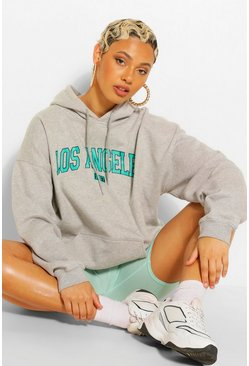 LOS ANGELES SLOGAN EXTREME OVERSIZED HOODY, Grey marl