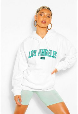 White LOS ANGELES SLOGAN EXTREME OVERSIZED HOODY