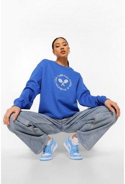 Cobalt Beverly Hills Tennis Slogan Oversized Sweater
