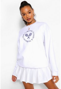 White Beverly Hills Tennis Slogan Oversized Sweater