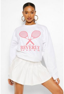 White BEVERLY HILLS TENNIS SLOGAN OVERSIZED SWEAT