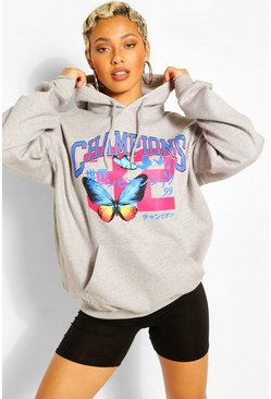 Grey marl Butterfly Print Oversized Hoodie