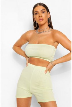 Washed lime yellow JUMBO RIB BANDEAU