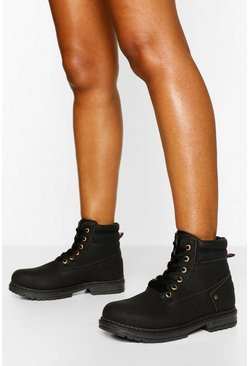 Black Padded Cuff Lace Up Hiker Boots