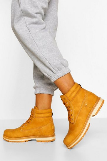 Tan brown Padded Cuff Lace Up Hiker Boots