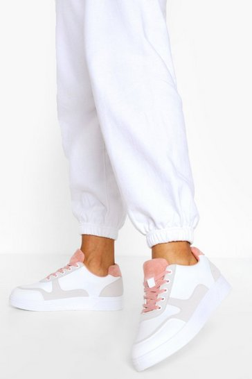 Pink Contrast Panel Lace Up Flat Trainers