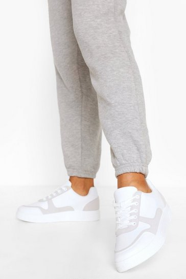 White Contrast Panel Lace Up Flat Trainers