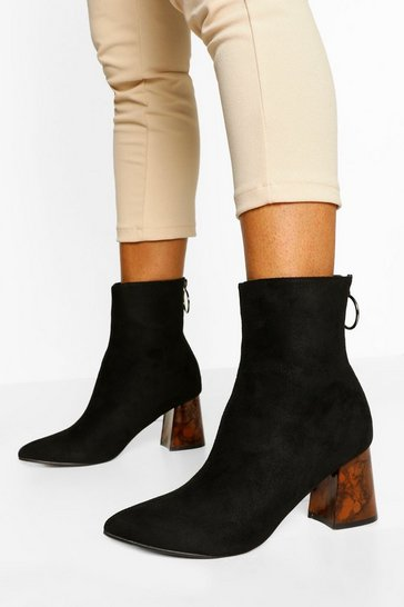 Black Block Heel Zip Back Sock Boots