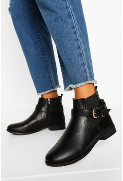 Black Buckle Detail Flat Chelsea Boots