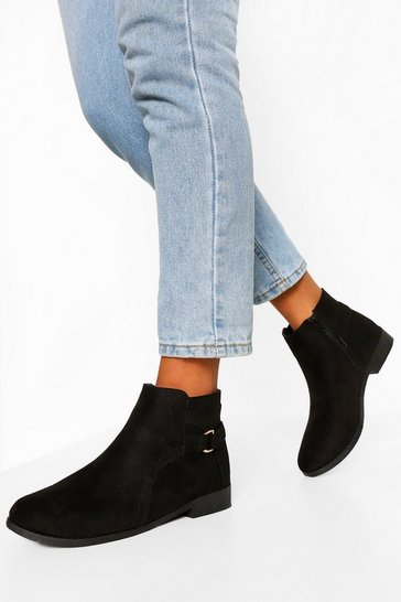 Black D Ring Flat Chelsea Boots