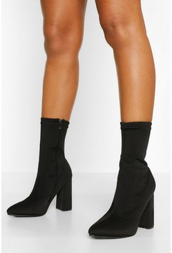 Black Wide Fit Block Heel Pointed Toe Sock Boot