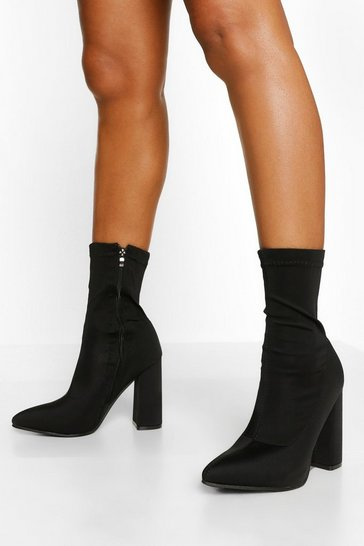 Black Block Heel Pointed Toe Sock Boot