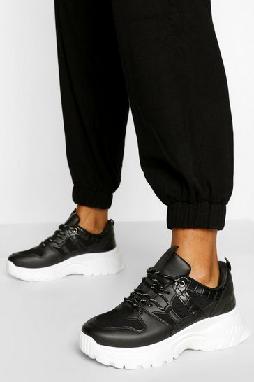 Black Croc Panel Chunky Sole Trainers