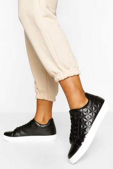 Black Quilted Panel Lace Up Flat Trainer