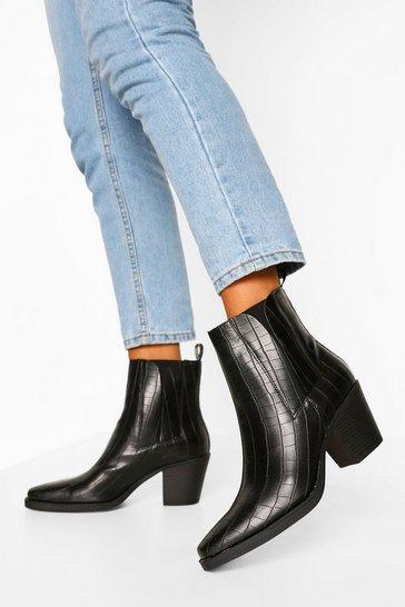 Black Croc Block Heel Chelsea Shoe Boots