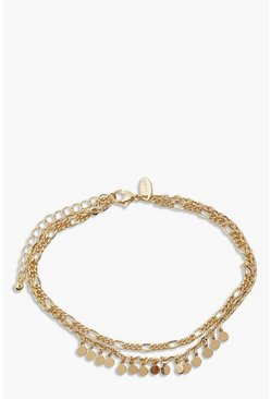 Gold metallic Mini Disk Charm Anklet