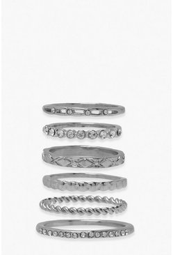 Silver Textured 6Pck Rings